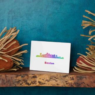 Rainbow Boston skyline Plaque
