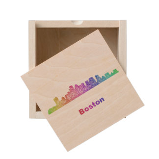 Rainbow Boston skyline Wooden Keepsake Box