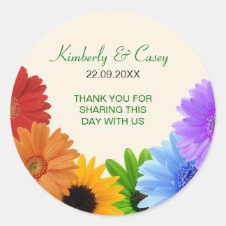 Rainbow Bouquet Wedding Round Stickers