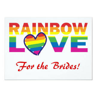 Rainbow Bridal Shower/ For the Brides! 5x7 Paper Invitation Card