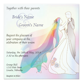 "Rainbow Bride & Groom Wedding Invite - 1 5.25"" Square Invitation Card"