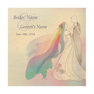 Rainbow Bride & Groom Wedding Memento Wood Wall Art