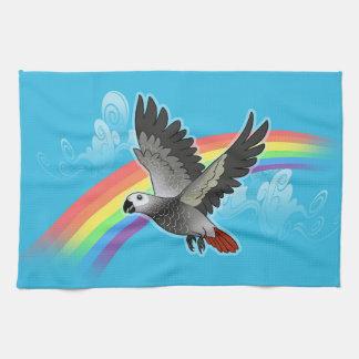 Rainbow bridge african grey parrot kitchen towel