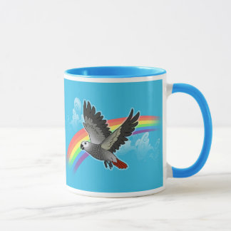 Rainbow bridge african grey parrot mug