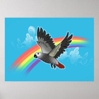 Rainbow bridge african grey parrot poster