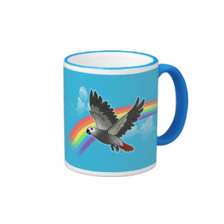 Rainbow bridge african grey parrot ringer mug