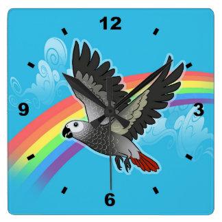 Rainbow bridge african grey parrot square wall clock