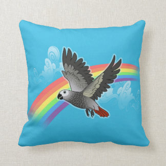 Rainbow bridge african grey parrot throw pillow