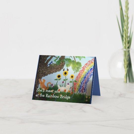 Rainbow Bridge Female Cat Sympathy Card