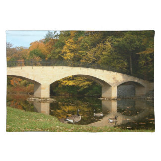 Rainbow Bridge in Fall at Grove City College Cloth Place Mat