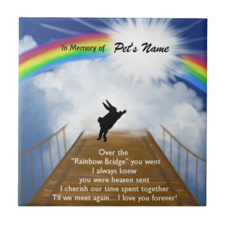 Rainbow Bridge Memorial for Rabbits Ceramic Tile