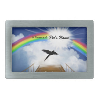 Rainbow Bridge Memorial Poem for Birds Rectangular Belt Buckles