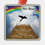 Rainbow Bridge Memorial Poem for Birds Square Metal Christmas Ornament
