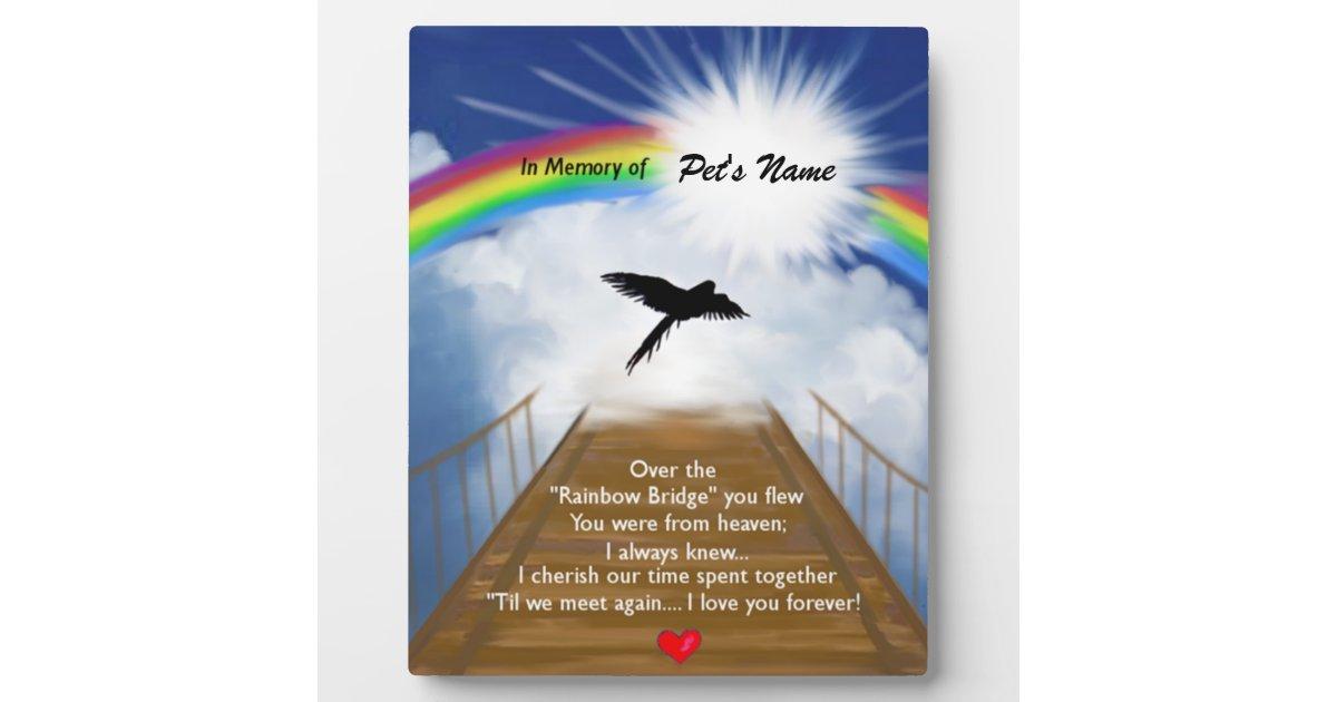 Rainbow Bridge Memorial Poem For Birds Plaque Zazzle Com