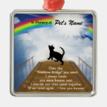 Rainbow Bridge Memorial Poem for Cats Square Metal Christmas Ornament