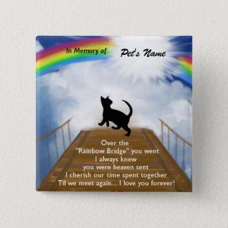 Rainbow Bridge Memorial Poem for Cats Pinback Button