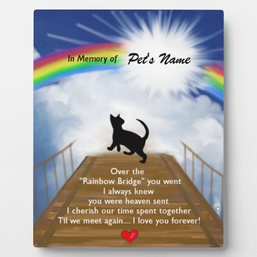 Rainbow bridge memorial poem for cats plaques zazzle