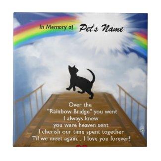 Rainbow Bridge Memorial Poem for Cats Small Square Tile