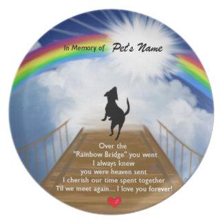 Rainbow Bridge Memorial Poem for Dogs Dinner Plate