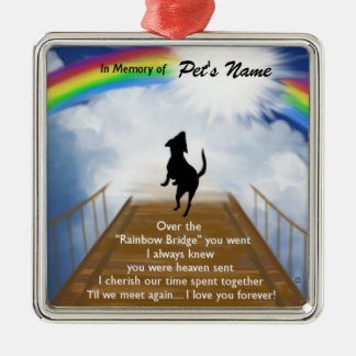 Rainbow Bridge Memorial Poem for Dogs Metal Ornament