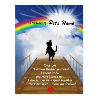 Rainbow Bridge Memorial Poem for Dogs Post Card