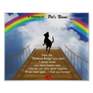 Rainbow Bridge Memorial Poem for Dogs Posters