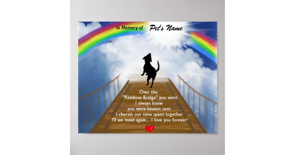 Rainbow Bridge Memorial Poem For Dogs Poster Zazzle Com