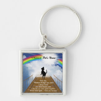 Rainbow Bridge Memorial Poem for Dogs Silver-Colored Square Keychain