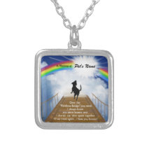 Rainbow Bridge Memorial Poem for Dogs Silver Plated Necklace