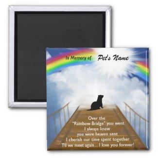 Rainbow Bridge Memorial Poem for Ferrets 2 Inch Square Magnet