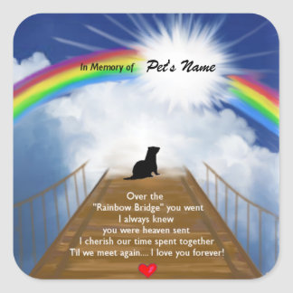 Rainbow Bridge Memorial Poem for Ferrets Square Sticker