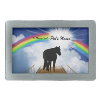 Rainbow Bridge Memorial Poem for Horses Rectangular Belt Buckles