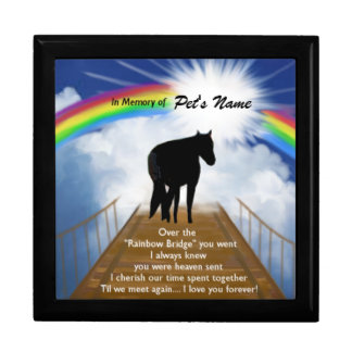 Rainbow Bridge Memorial Poem for Horses Keepsake Box