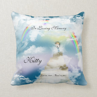 Rainbow Bridge Pet Cat Memorial Throw Pillows