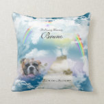 "Rainbow Bridge Pet Dog Memorial Throw Pillow<br><div class=""desc"">Your Dog In Loving Memory Rainbow&#39;s Bridge Poem Memorial Pillow - Add your dog&#39;s name and dates as well as his or her photo which will show up from within the clouds (you may have to play with the size photo, usually an 8x10 works best to completely fill the area...</div>"