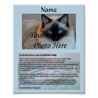 Rainbow Bridge Pet Memorial Blue Poster
