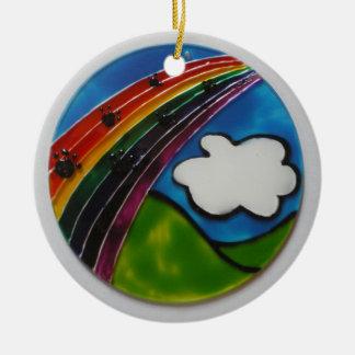 Rainbow Bridge Pet Memorial Double-Sided Ceramic Round Christmas Ornament