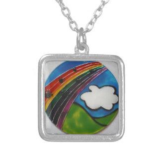 Rainbow Bridge Pet Memorial Silver Plated Necklace