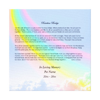 Rainbow Bridge Pet Sympathy Wrapped Canvas, MALE Canvas Print