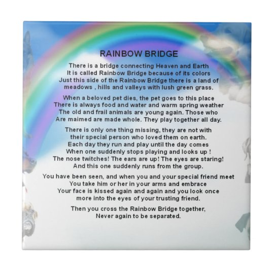 Rainbow Bridge Poem Ceramic Tile Zazzlecom