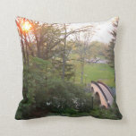 Rainbow Bridge Sunset at Grove City College Throw Pillow