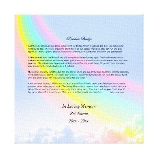 Rainbow Bridge Sympathy Canvas Print, FEMALE Pet
