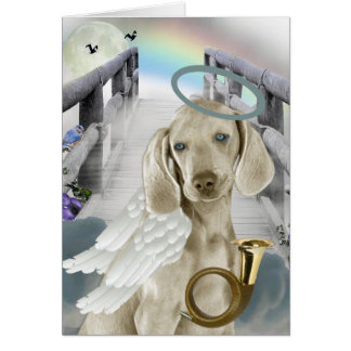 Rainbow Bridge Weimaraner Angel Greeting Card