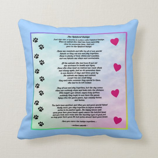 Rainbow Bridge With Paws And Hearts Throw Pillow
