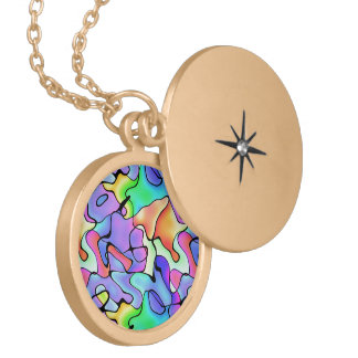 Rainbow Bright Art Gold Plated Necklace