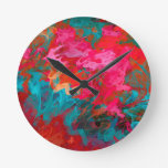 Rainbow bright colorful gradient pattern round clock