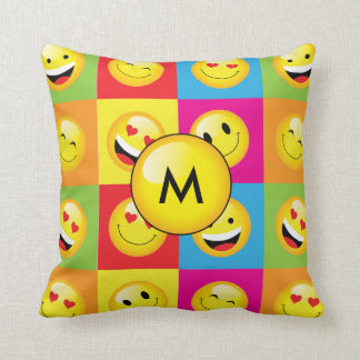 Rainbow Bright Monogram Smiley Emoji Art Pattern Throw Pillow