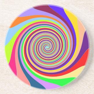 Rainbow bright psychedelic pop art candy swirl coaster
