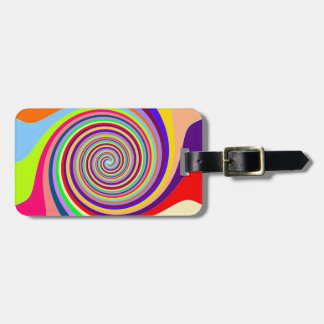 Rainbow bright psychedelic pop art candy swirl tags for luggage
