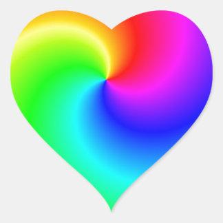 Rainbow bright swirls heart sticker